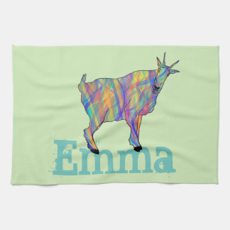 Colourful Goat Standing on Design Add Your Name Tea Towel