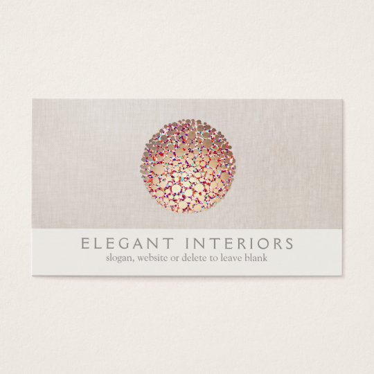 Colourful Gold  Circles Sphere Interior Designer Business Card