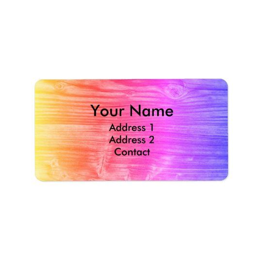 Colourful Gradient Funky Wood Label
