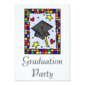 Colourful Graduation 13 Cm X 18 Cm Invitation Card