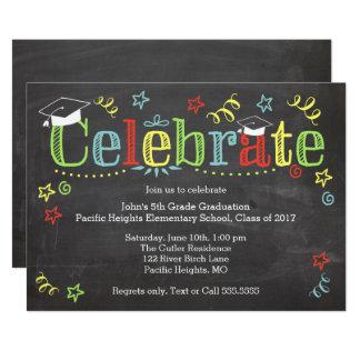 Colourful Graduation Invitaiton, Chalkboard Card