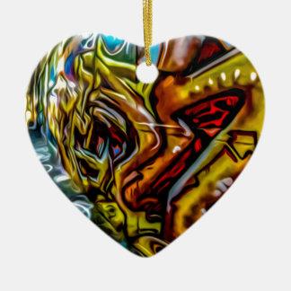 Colourful Graffiti Art Ceramic Heart Decoration