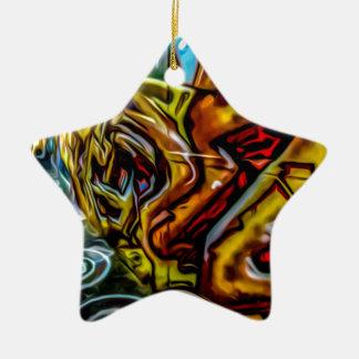 Colourful Graffiti Art Ceramic Star Decoration