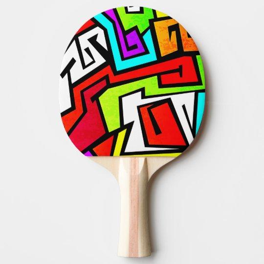 Colourful graffiti illustration ping pong paddle