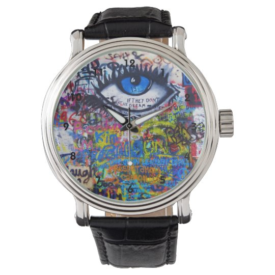 Colourful graffiti street art wristwatches