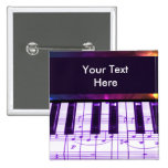 Colourful Grand Piano Keyboard and Music Notes Pinback Button