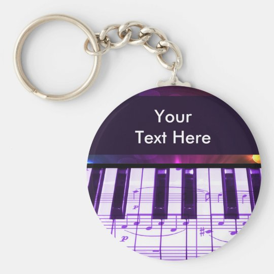Colourful Grand Piano Keyboard and Music Notes Key