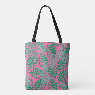 Colourful green and pink leaves tote