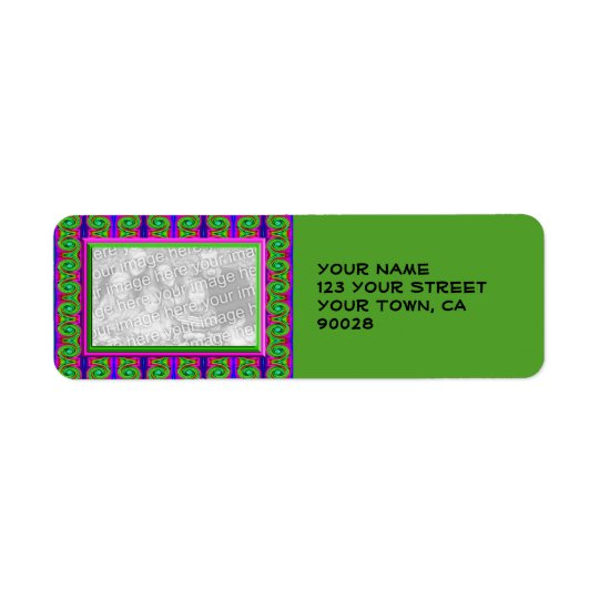 colourful green pink photo frame return address label