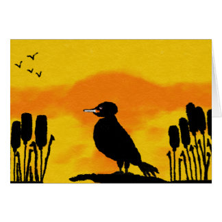 colourful greeting card with sunset