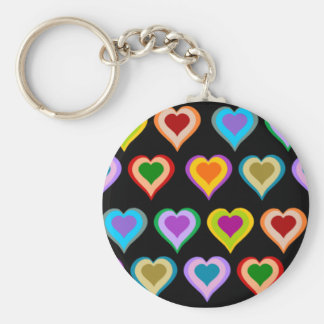 Colourful groovy heart pattern keychain