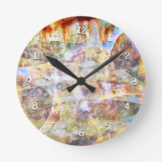 Colourful grunge graffiti round clock