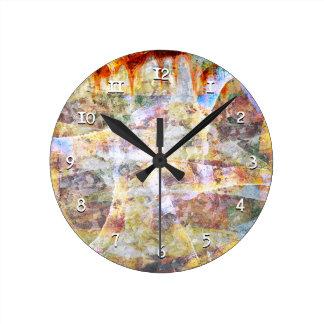 Colourful grunge graffiti wall clocks