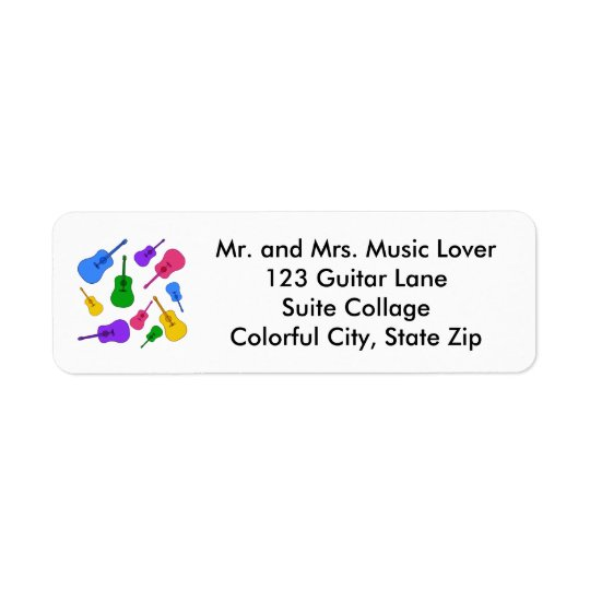 Colourful Guitar Collage in Colours Address Labels