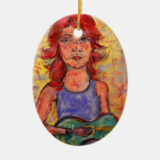 colourful guitar girl art ceramic oval decoration