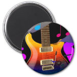 Colourful Guitar - Rock On! 6 Cm Round Magnet