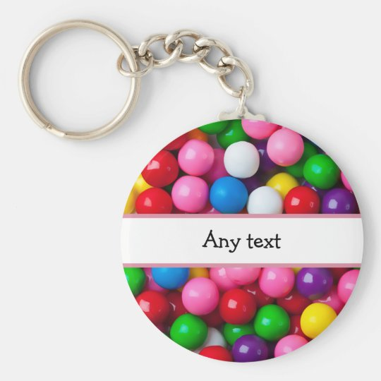 Colourful Gumball Graphic Basic Round Button Key Ring