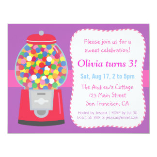 Colourful Gumball Machine Candy Themed Party 11 Cm X 14 Cm Invitation Card