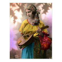 Colourful Gypsy Girl Postcard