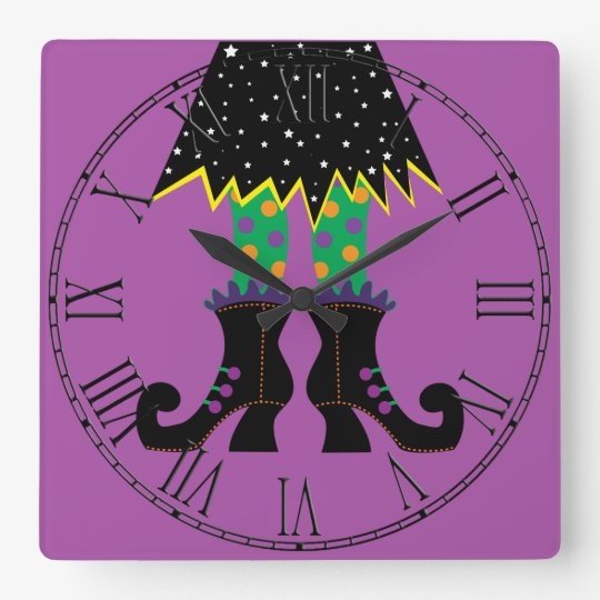 Colourful Halloween Funny Witch Feet Square Wall Clock