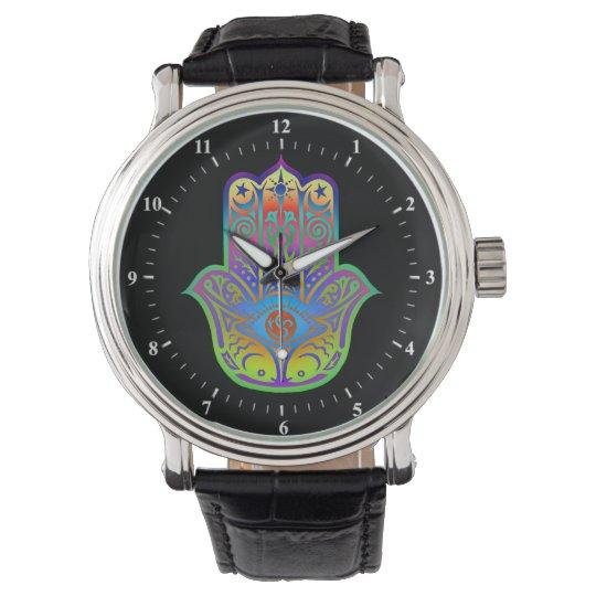 colourful hamsa amulet wrist watches