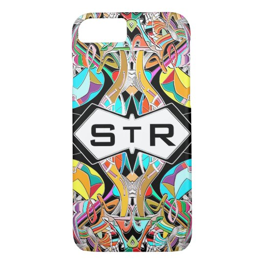Colourful Hand Drawn Abstract I Monogram Initials iPhone 8/7 Case