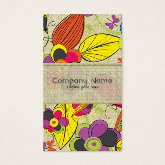 Colourful Hand Drawn Retro Fashion Floral Design Business Card