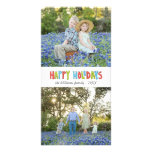 Colourful Hand Lettered Happy Holiday Two Photo Photo Cards