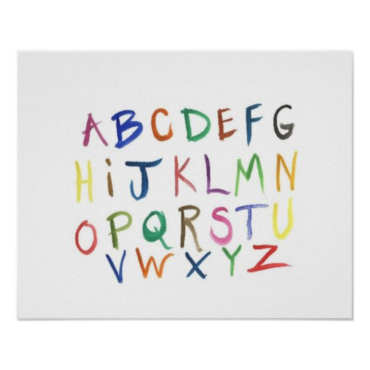 Colourful Hand-Painted Alphabet Poster