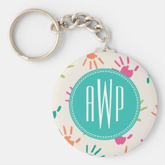 Colourful Handprints Monogram Teacher Basic Round Button Key Ring