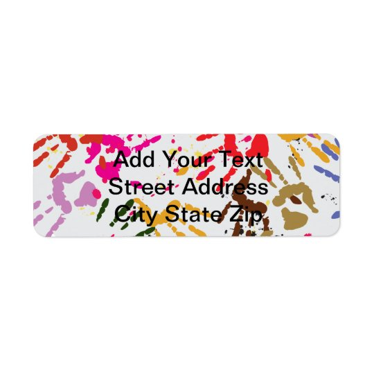 Colourful Hands Return Address Label