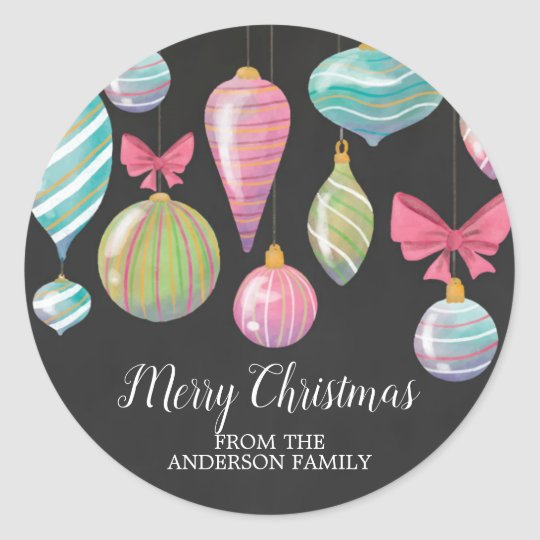 Colourful Hanging Ornaments Merry Christmas Classic Round Sticker