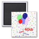 Colourful Happy 40th Birthday Balloons Magnet