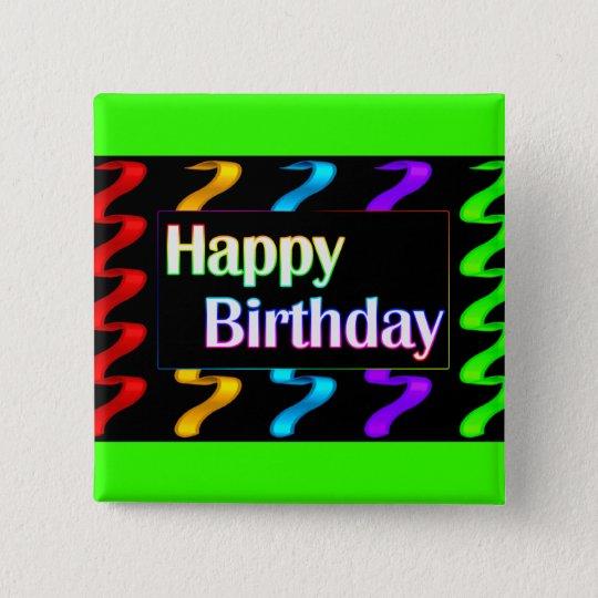 Colourful Happy Birthday Button
