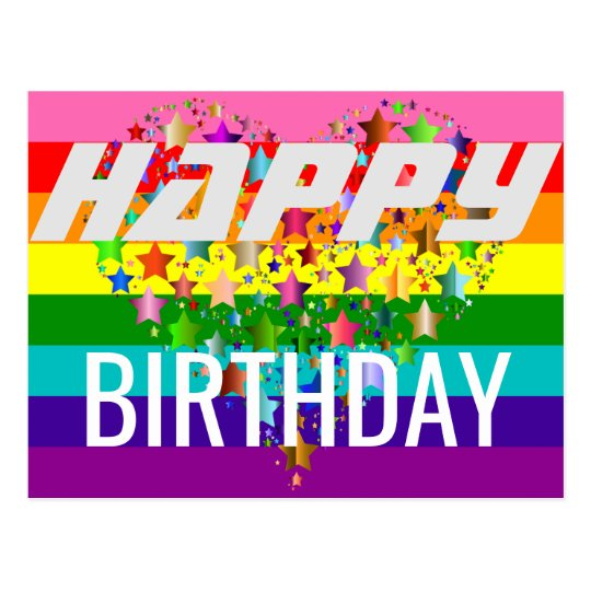 Colourful Happy Birthday Heart LGBT Rainbow Flag Postcard