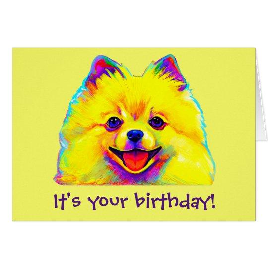 Colourful Happy Birthday Pomeranian Card