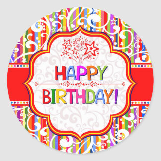 Colourful Happy Birthday Round Sticker