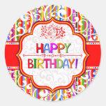 Colourful Happy Birthday Round Stickers