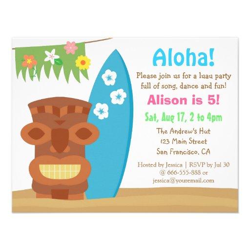Colourful Hawaii Tiki Luau Beach Birthday Party Personalized Invites