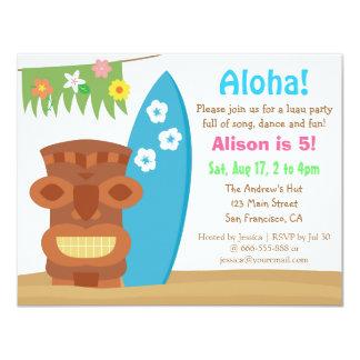 "Colourful Hawaii Tiki Luau Beach Birthday Party 4.25"" X 5.5"" Invitation Card"