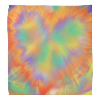 Colourful Heart Psychedelic abstract Art Design Bandana
