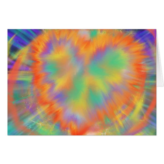 Colourful Heart Psychedelic abstract Art Design Card