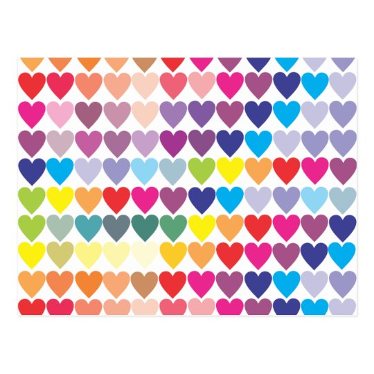 Colourful hearts pattern postcard