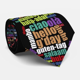 Colourful Hello in Many Languages Word Cloud Tie