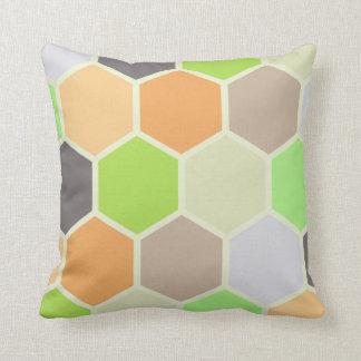 Colourful Hexagons Pillow (Orange, Green, &