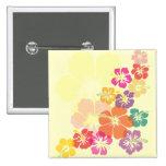 Colourful Hibiscus 15 Cm Square Badge