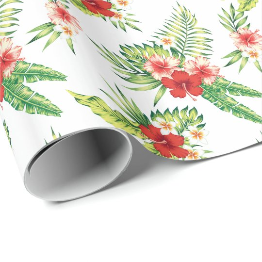 Colourful Hibiscus Pattern Custom Background Wrapping Paper
