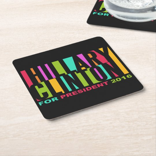 Colourful Hillary Clinton 2016 coasters