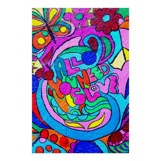 colourful hippie peace and love poster