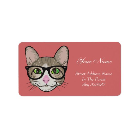 Colourful Hipster Cat Address Label